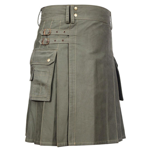 imperial-highland-supplies-classic-men-utility-kilt-heavy-cotton-olive-green-color