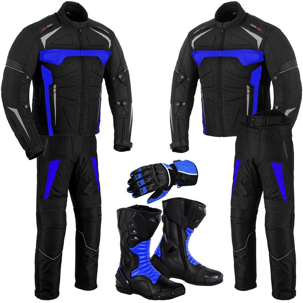 Motorbike Jacket Trouser Waterproof Motorcycle Riding Suit Leather Racing Boots