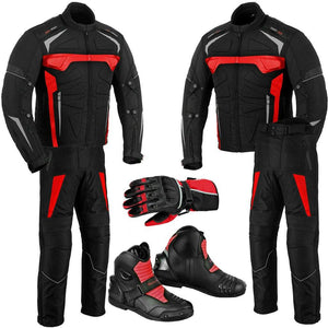 Motorbike Red Jacket Trouser Waterproof Motorcycle Riding Suit Leather Racing Boots