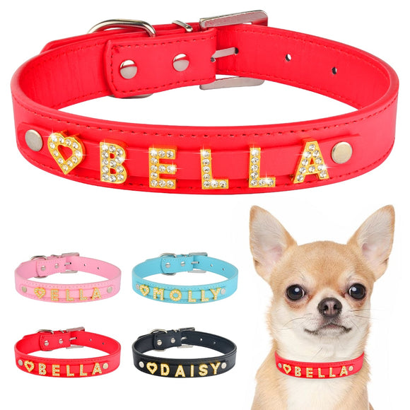 DIY Bling Personalized Dog Collar Rhinestones Leather Free Name Small Medium Pet