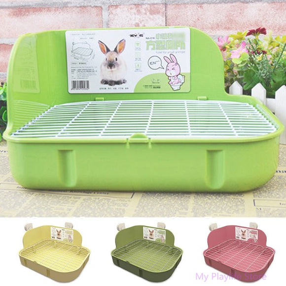 Small Pets Rabbit Toilet Square Bed Pan Potty Trainer Bedding Litter Box for Small Animals Cleaning Supplies C42