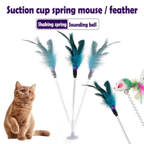 Dropship Interesting Elastic Color Mouse And Feather Bottom Sucker Pet Cat Toy Pet Supplies Colors Are Random