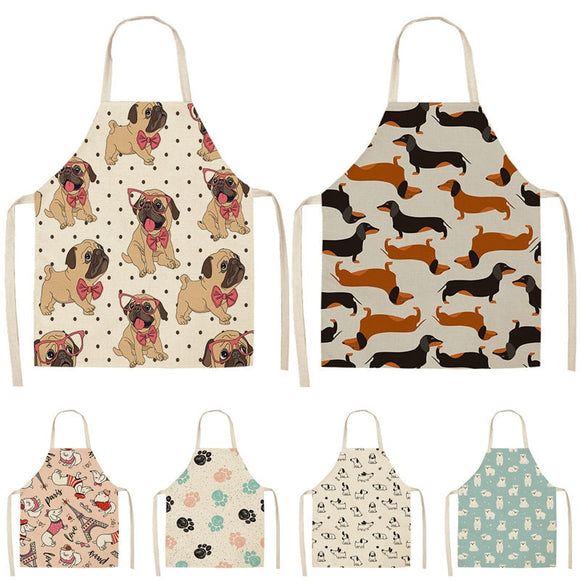 Bulldog Dachshund Pug Dog Printed Kitchen Apron for Woman Cotton Linen Bib 53*65cm Home Cooking Baking Cleaning Tool WQ0037