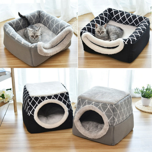 Pet bed for Cats Dogs Soft Nest Kennel Bed Cave House Sleeping Bag Mat Pad Tent Pets Winter Warm Cozy Beds 2 Size L XL 2 Colors