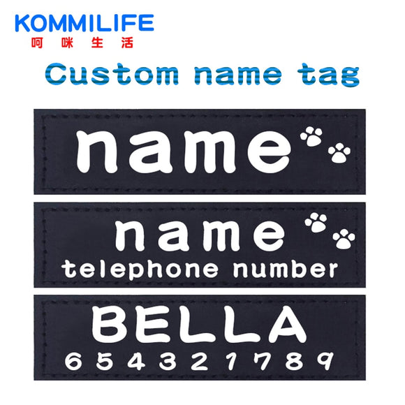 2 PCS Personalized Dog Harness Tags Dog Name Custom K9 Dog Harness Collar Label Sticker Patch Custom Pet Dog Harness Name Tag
