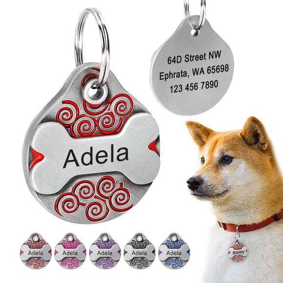 Personalized Dog Tag Free Engraving Dogs ID Tags Nameplate French Bulldog Plate Anti-lost Pet Accessories For Collar Necklace