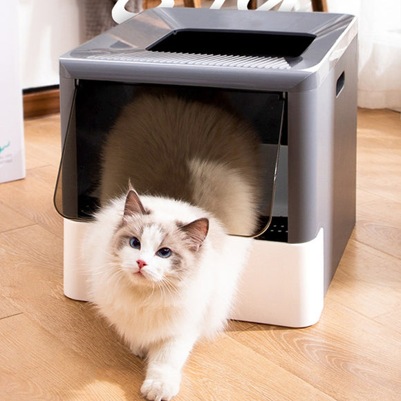 Fold Bedpan Cat Litter Box Fully Enclosed Deodorant Pet Toilet with Shovel High Capacity Cat Litter Tray Within 10KG