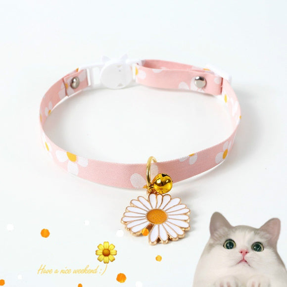 Japanese style adjustable pet collar flower hollow bell cat dog harness rabbit leash coleira cachorro perros de gato accessories
