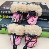 MICATALE 4PCS Winter Warm Dog Shoes Anti-slip Pet Thick Shoes Small Dogs Cat Chihuahua Hericium Snow Dog Boots Socks 10 Colors