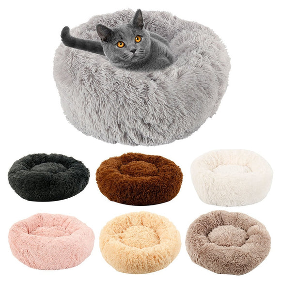 Hot Long Plush Dog Bed Winter Warm Round Sleeping Beds Soild Color Soft Pet Dogs Cat Cushion Mat Dropshipping France Warehouse