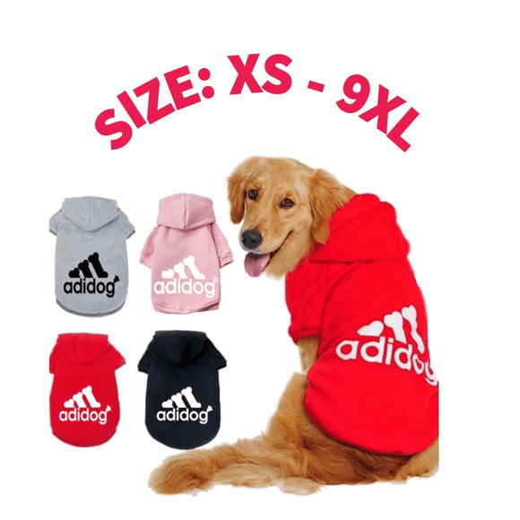 Dog Clothes Pet Casual Hooded Coat Autumn Large Dogs Coat Jacket For Labrador Clothing Costume Solid Color Printing Large Size