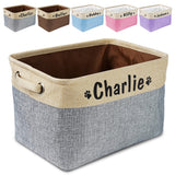 Personalized Dog Toy Basket No Smell Storage Box Free Print Name Storage Baskets For Dogs Clothes Shoes Pet Accessories With Paw