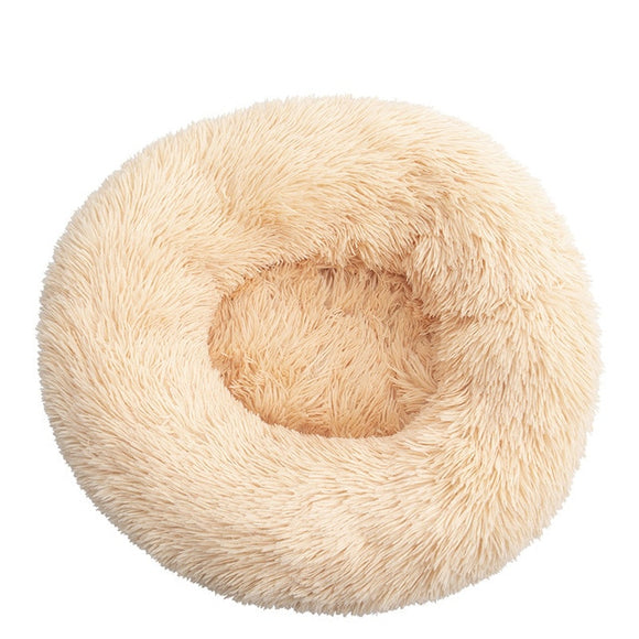 Round Long Plush Dog Beds for Large Dogs Winter Pet Products Cushion Super Soft Fluffy Comfortable Cat Mat Supplies Accessories