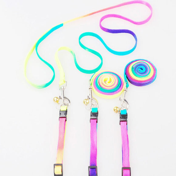 Soft Walking Harness Lead Adjustable Pet Puppy Chain 1.2M Rainbow Mascotas Pet Dog Puppy Leash