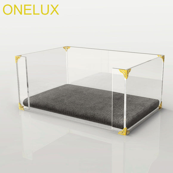 Clear Acrylic Dog/Cat Bed,Lucite Pet Beds With Metal Hardware-61W 40D 25H CM