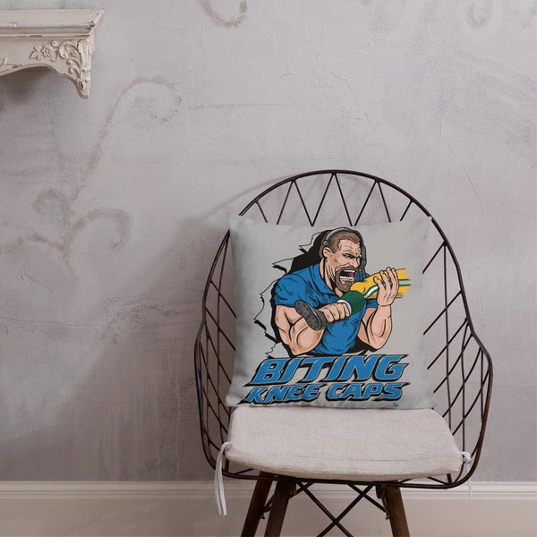 Alternative Hero - Biting Knee Caps Premium Pillow - 18×18