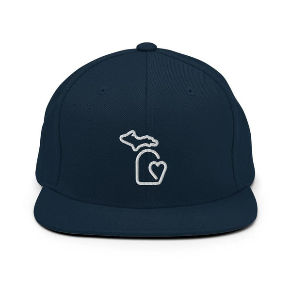 MI State - Michigan Premium Snapback Hat - Dark Navy