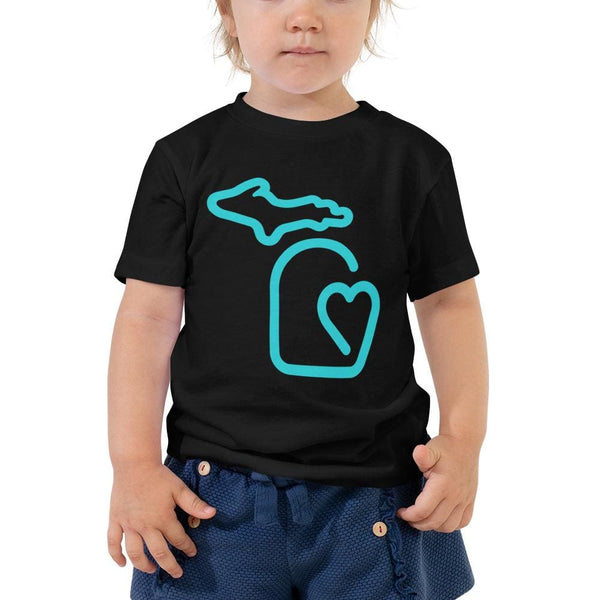 MI State - Michigan Toddler Short Sleeve Tee - Black / 2T