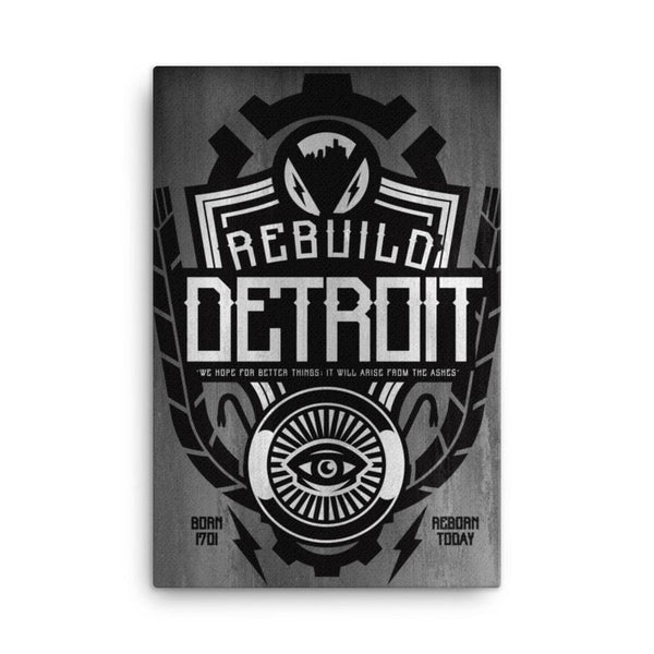 Rebuild Detroit 24x36 Gallery Wrapped Canvas