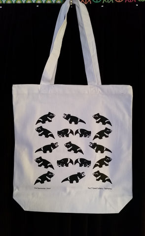 Tasmanian Black Devil Cotton Tote Bag