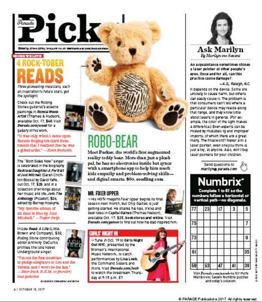 Parker the Bear in Parade Magazine