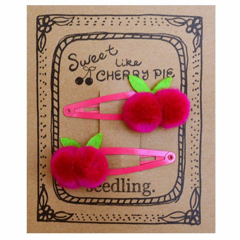 Sweet Like Cherry Pie Pom Pom Hair Clips