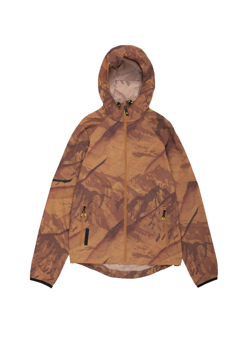 Autochtonae earth basic windbreaker men mountainprint tobacco front