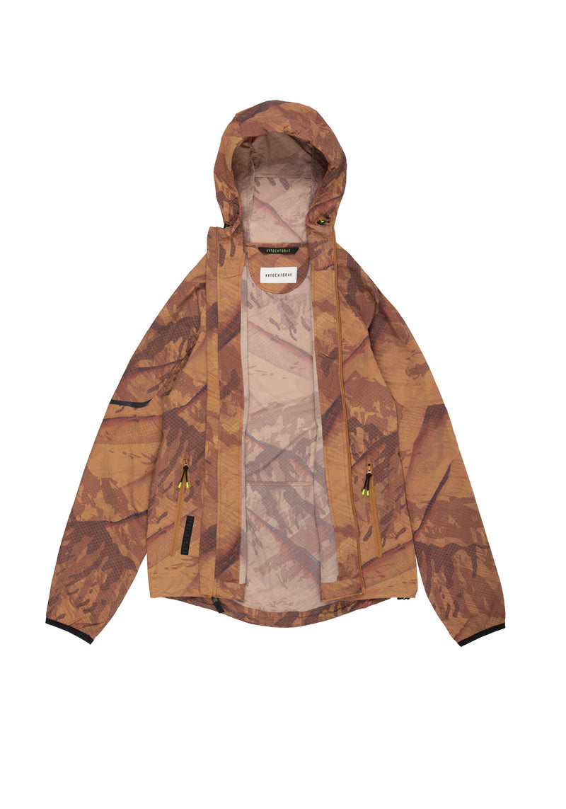 Autochtonae earth basic windbreaker men mountainprint tobacco lining