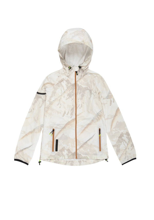 Windbreaker jacket woman mountain-print ecrù