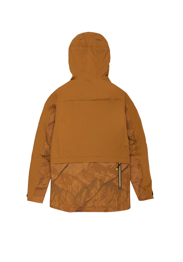 Autochtonae earth pro windbreaker men mountain print tobacco back