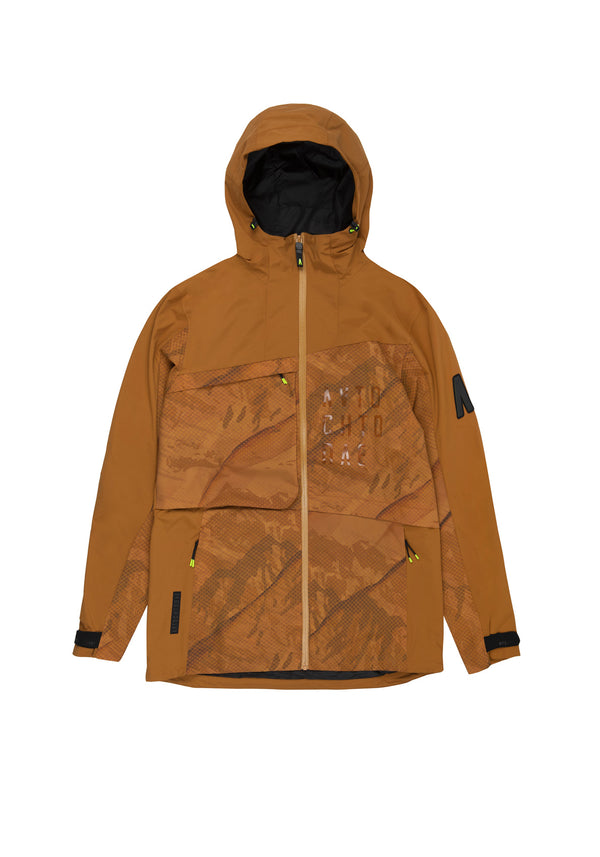Autochtonae earth pro windbreaker men mountain print tobacco front