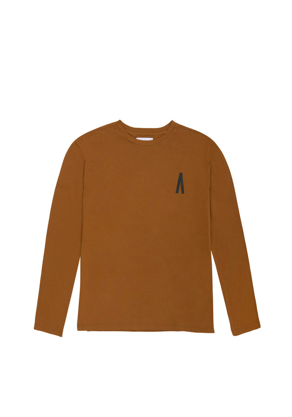 Autochtonae people basic tshirt longsleeves men tobacco front
