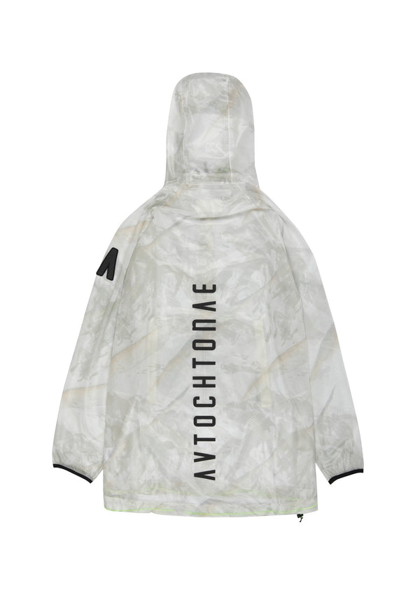 Autochtonae people raincoat unisex mountain print ecru back