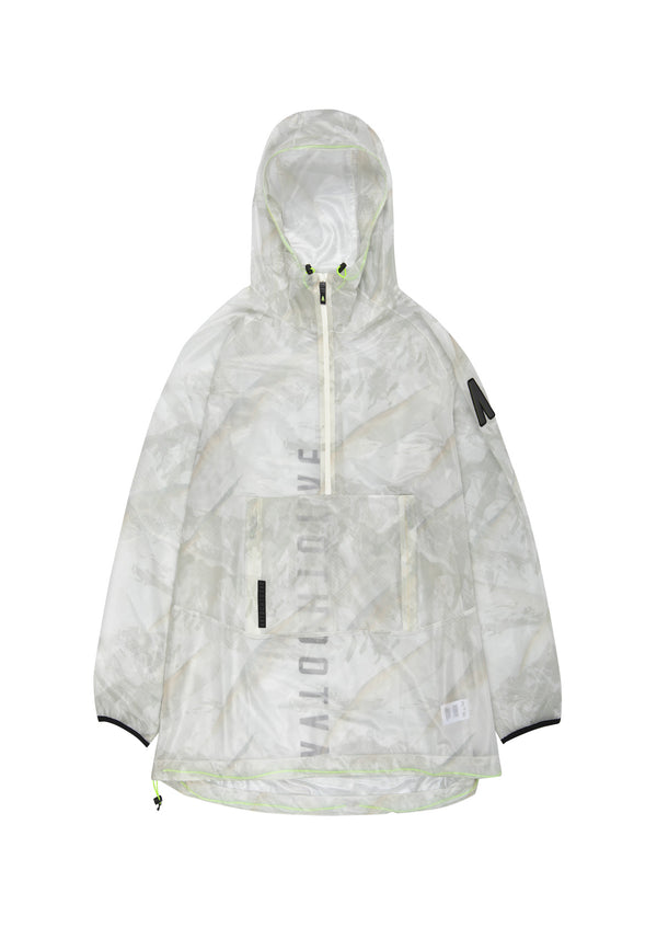 Autochtonae people raincoat unisex mountain print ecru front