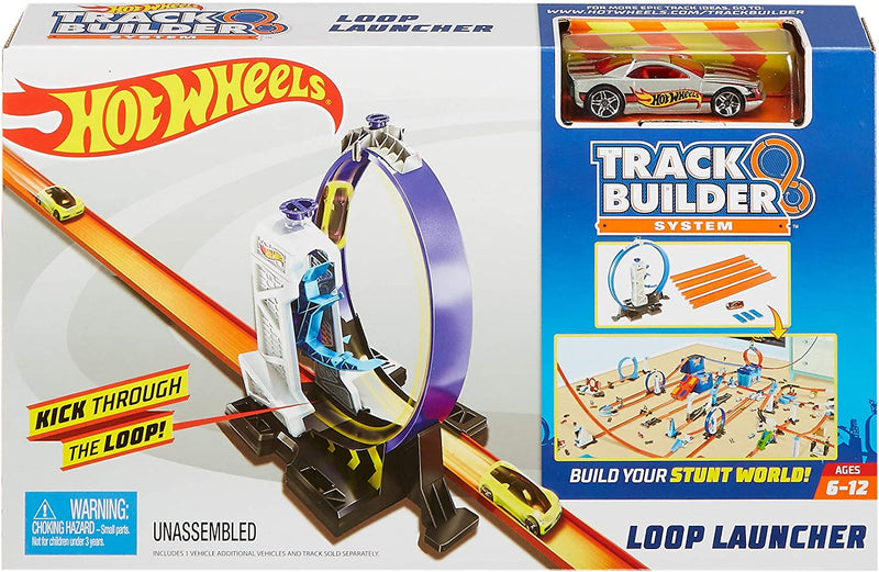Hot Wheels DMH51 Track Builder Connectable Loop Launcher Set with Diecast and Mini Toy Car