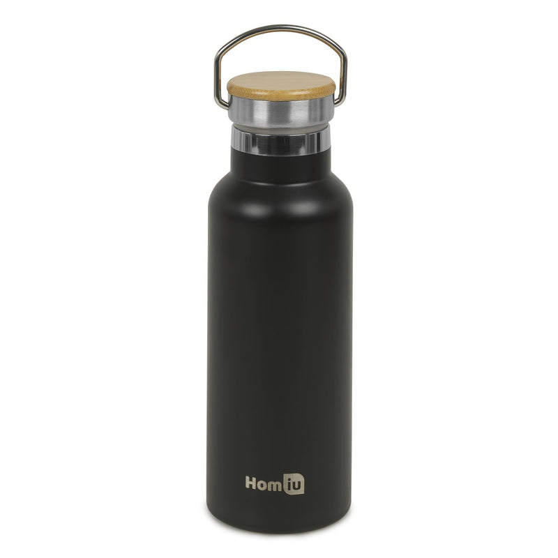 Homiu Water Bottle with Carrying Handle Insulated Double Walled Hot or Cold Stainless Steel Vacuum Flask Reusable (Black, 500 ml)