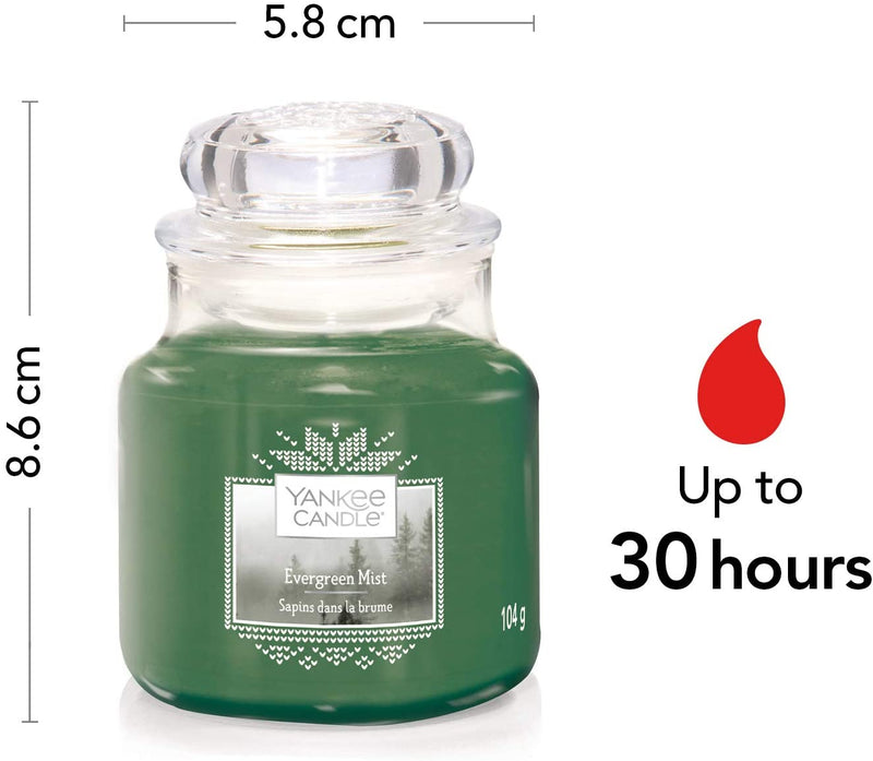 Yankee Candle Small Jar Scented Candle, Evergreen Mist, Alpine Christmas Collection