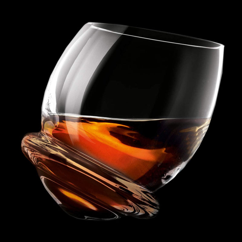 Krosno Rocking Whiskey Tumbler Glasses | Set of 6 | 200 ML | Roly-Poly Collection | Unspillable Glass