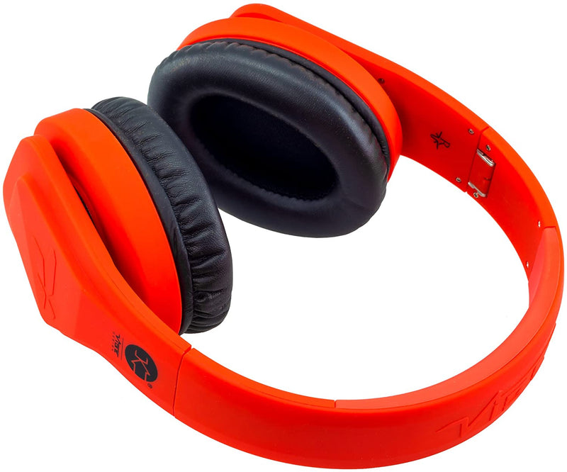 Vibe FLI Over-Ear Foldable Headphones with In-Line Microphone - Red