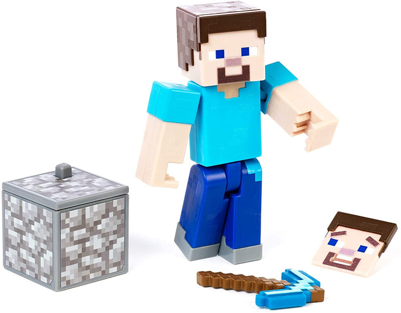 Minecraft Steve Action Figure, Comic Maker, with swappable faces and weapon