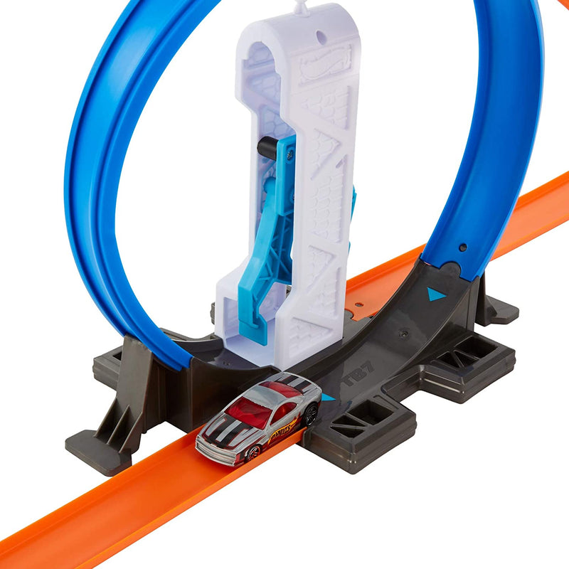 Hot Wheels Track Builder Connectable Loop Launcher Set with Diecast and Mini Toy Car