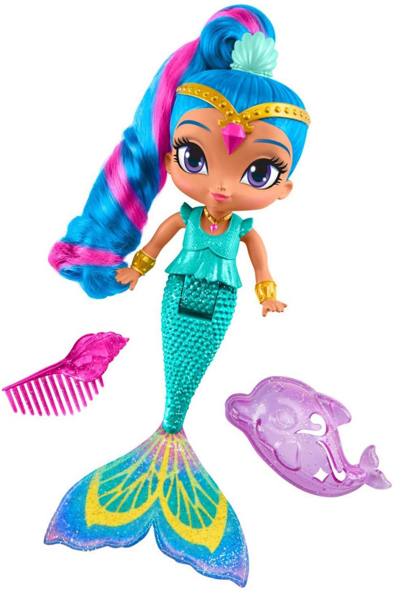 Fisher-Price Shimmer & Shine Magic Mermaid Shine, Colour-Change Hair, Blue Ponytail, Bath Toy, With accessories