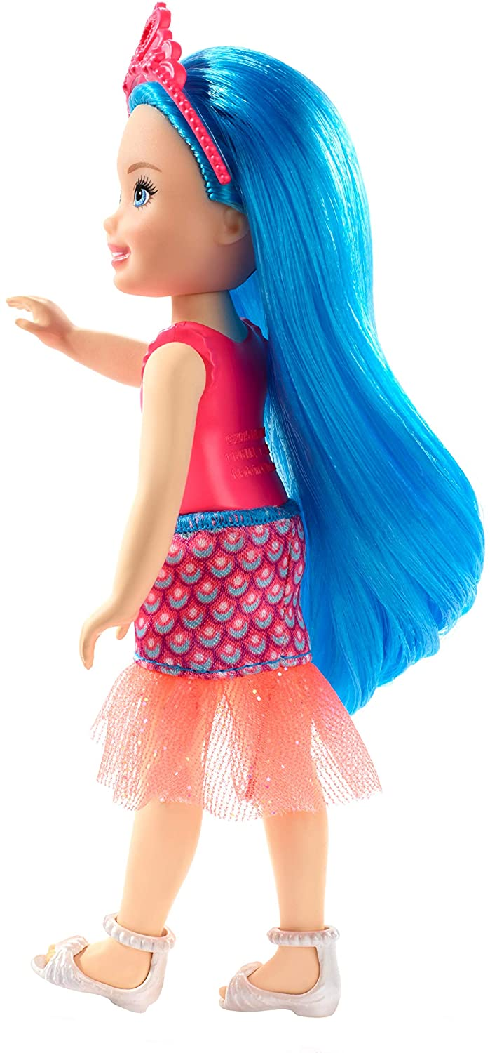 Barbie dreamtopia Chelsea Sprite- Doll with blue hair, pink headpiece, seashell-themed bodice New