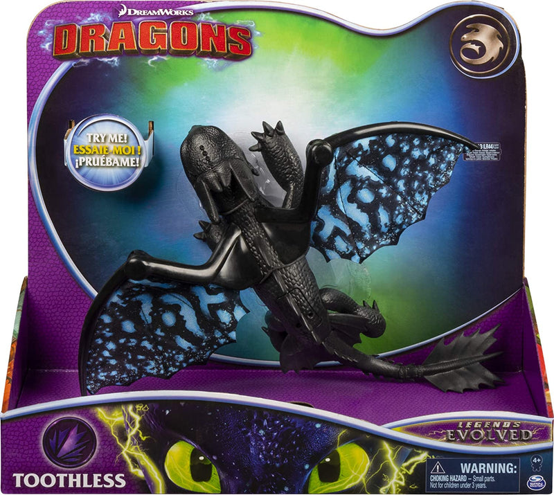 Dreamworks Dragons Toothless Deluxe Dragon with Lights and Attack Sounds, Pop-Open Wings for Kids Aged 4 and Up (Styles Vary)