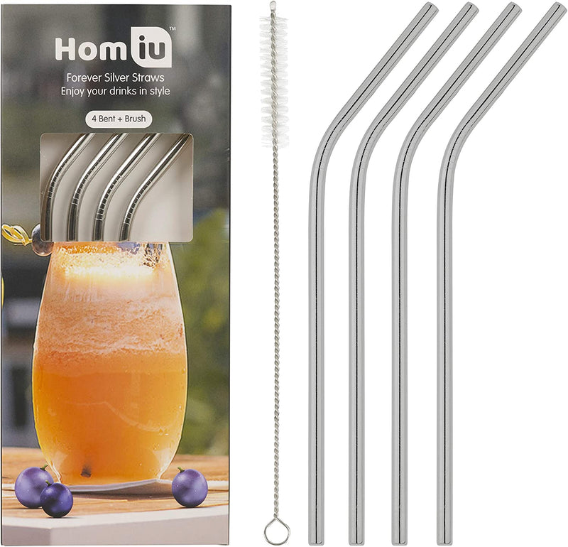Homiu Stainless Steel Drinking Straws Set of 4 with Cleaning Brush Reusable Washable