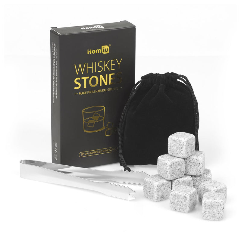 Homiu Whisky Stones Gift Set 9 x Granite Ice Cube Reusable for The Perfect On-The-Rocks Drink