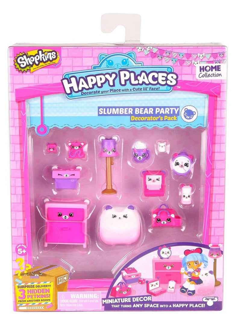 Shopkins 56392 Happy Places Season 1W2 Decorator Pack Slumber Bear Party, Multi-Colored