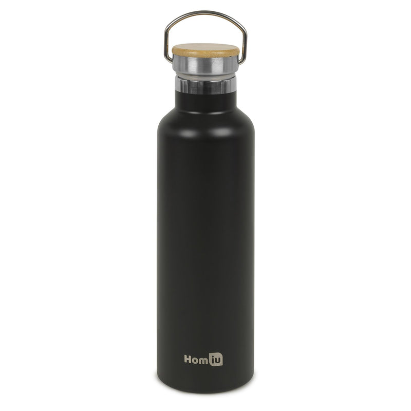 Homiu Water Bottle with Carrying Handle Insulated Double Walled Hot or Cold Stainless Steel Vacuum Flask Reusable (Black, 750 ml)