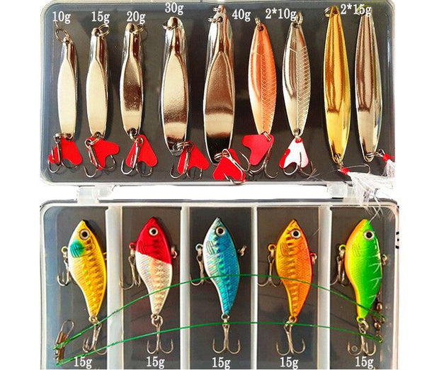 Brilliant Metal Jig Spoon Fishing Lure Set 10/20/25/35 PCS
