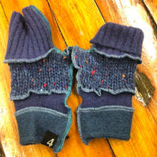Load image into Gallery viewer, jewel tones of teals + blues fingerless mittens
